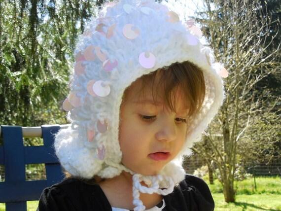 Girl's Glittery Sequin Crocheted Bonnet / Hood OOAK