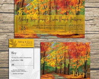 Fall Wedding Invitations - Autumn Woods -  Wedding Invitation Suite with RSVP postcards and address labels - Sample Set