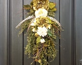 Fall Wreath-Autumn Wreath-Ivory and Green Peony-Teardrop Door- Twig Swag -Vertical Door Decor.. Use all Year Round Wispy Floral Swag, Swag