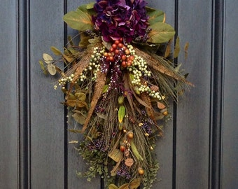 "Spring Summer Fall Wreath-Teardrop Wreath- Vertical Door Decor- Swag Decor Use Year Round..""Plum Sensation"" Purple Hydrangea Feathers Wispy"