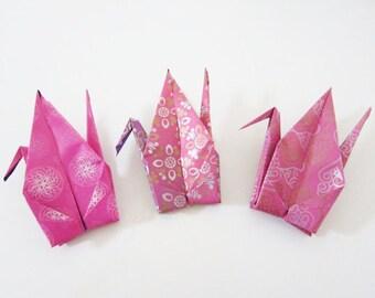 LAST SET 9 Metallic Magenta Large Origami Cranes