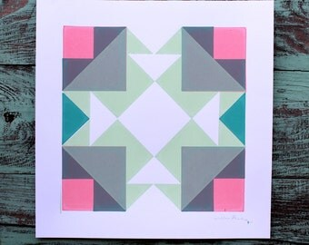 SALE! Geometric Quilt Square Screen Print Neon