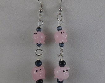 Lampwork Glass Pig Earrings