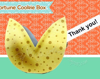 Fortune Cookie Favor Box - Printable favor box, Treat Box, Party favors - INSTANT DOWNLOAD - Paper Art by Marlene Campos
