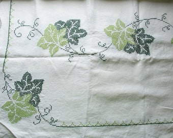Vintage Cross Stitched Table Cloth