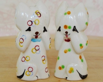 Vintage Cat Salt and Pepper Shakers with Shapes by Napco