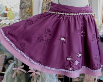 Short Eyelet Silk SKiRT -   Upcylced with Trim - Lace and Roses  - Festive Fairy Skirt -  SiZE -  MEDIUM
