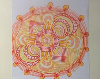Tangerine Mandala Print of original drawing