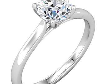 6.5mm  1  Ct Round Forever Brilliant Moissanite Solid 14K White Gold  Diamond  Engagement Ring-ST232966