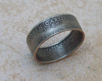 Made To Order CoPPeR NiCKLe HaNDMaDe Jewelry NORTH CAROLINA STaTe QuaRTeR RiNG CHRiSTMaS GiFT or SToCKiNG STuFFeR You Pick the Size 5-10