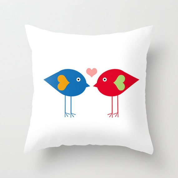 Throw Pillow Cover Love Birds Blue Red Pink Green Orange