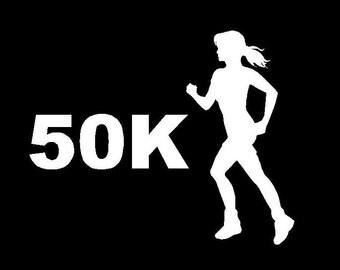 Ultra Marathon Decal 50K Female - White Vinyl Decal