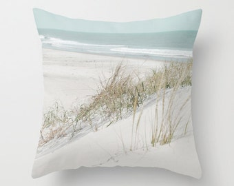 Pillow Cover, Beach pillow, Seaside photo pillow, Ocean Pillow, Whie Aqua pillow, Living room decor, 16x16 18x18 20x20 beach pillow