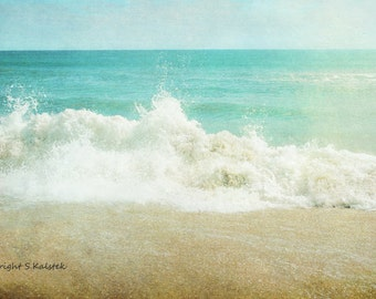 Ocean Photograph Turquoise Teal Blue Beige Beach Print Crashing Wave, Soothing Ocean Art 8x12