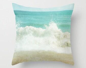Pillow Cover, Ocean Pillow, Beach Photo Pillow, Aqua Teal Pillow, Ocean Wave Throw Pillow, Living room decor, Bedding, 16x16 18x18 20x20