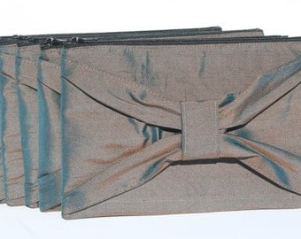 Brown with Teal Iridescent Bow Clutch Silk Formal Evening Bridesmaids Clutches Zipper