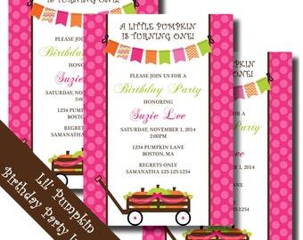 Pumpkin Birthday Invitation | Pumpkin Baby Shower Invitation | Fall Baby Shower Invitations | Fall Birthday Invitations | Little Pumpkin