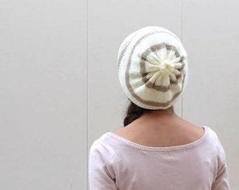 Cream brown Knit Hat,