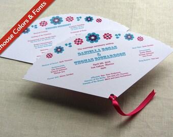 Mexican Fan Programs - Mexico Floral Vintage Wedding Program - Beach Ceremony Program