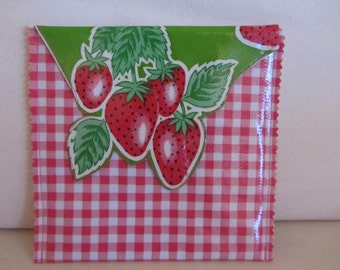 Oilcloth Strawberry Check Envelope with Felt Lining