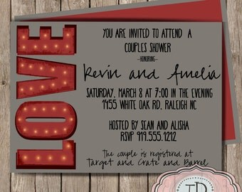 Couples Shower Invitation, Wedding Shower Invitation, customizable