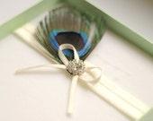 Bridal Peacock Garter - Rhinestone Garter - Wedding Garter - Toss Garter - Peacock Feather Garter - Ivory White Elastic - Gift for Bride