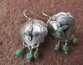 Stamped Santa Fe Southwestern Heart Zia Concho Turquoise Earrings Kingman Turquoise and Sterling Silver
