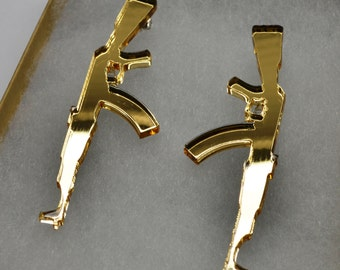 """Gun Assault Rifle Earrings - 3"""" long"""
