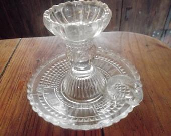 "ANTIQUE GLASS CANDLEHOLDER, ""durma bem"" (sleep well), home decor, Portuguese vintage"