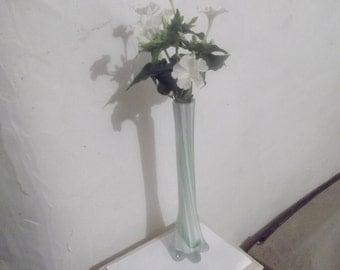 ART DECO  VASE, pale green glass, vintage, single bud vase, home decor