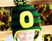 Oregon Ducks Hat with Earflaps,  toddler hat,  crochet ducks hat, green and yellow hat, Oregon Ducks team spirit beanie,