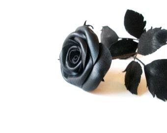 Black Leather Rose -  black magic-Flower  Gift- Long Stem Flower