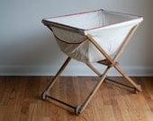 Vintage Wooden Rolling Laundry Basket