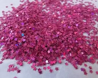 Fuchsia holo mini stars  glitter nail polish supplies sample