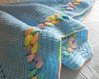Pastel Rainbow Interlocked Chain Link Throw or Baby Blanket Reversible Contemporary