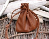 Leather Drawstring Pouch Bag - Light Brown - Crystals Stones  - Good luck charms Pouch - Talisman Native American Made in the USA