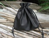 Leather  Drawstring Pouch Bag In Black New Extra Large Pouch