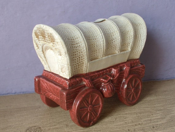 Vintage 1950 S Covered Wagon Bank Japan By Shoponsherman