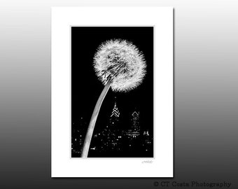 Dandelion Art Print, Philadelphia cityscape, Signed Matted Print, b&w photography, fits 5x7 inch frame