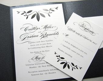 Custom Pocketfold Wedding Invitation in Elegant Black and White