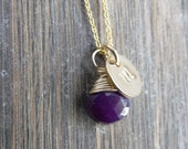 Monogram Necklace Gold Fill Disc Stamped Initial Wire Wrapped Purple Chalcedony Briolette
