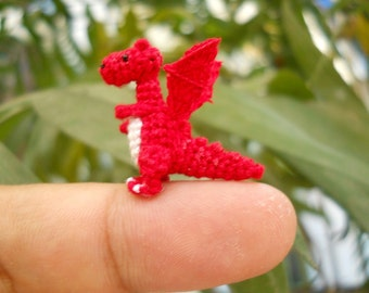 Red Dragon Winged - Tiny Crochet Miniature Dino Stuffed Animals - Made To Order