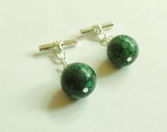 Handmade chainlink gemstone cufflinks with green fossil jasper.