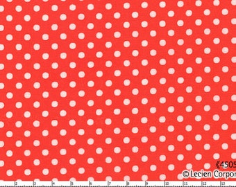 SALE Lecien Basics Dot Orange, 1 Yard, Quilting Cotton, Japanese Lecien Cotton