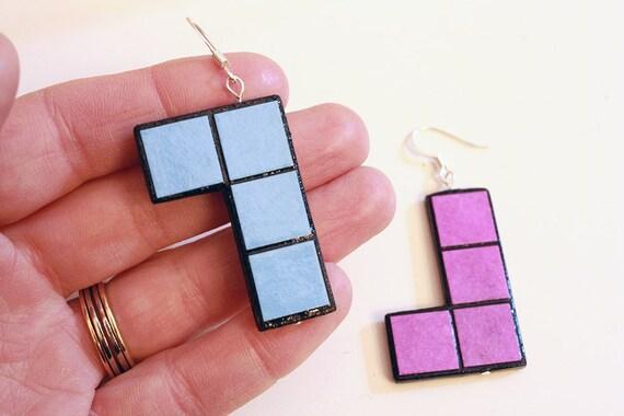 Tetris earrings - blue and purple