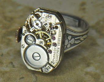 Women's STEAMPUNK Ring - Torch SOLDERED - Silver PARAGON Oval Watch Movement w/ Pin Striping & Original Crown - Anniversary, Birthday Gift