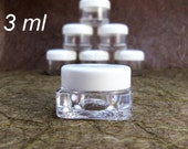 50 clear square thick wall plastic cosmetic sample jars with white cap 3 grams 3ml