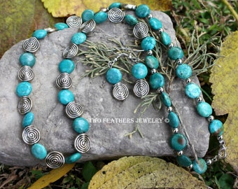 Turquoise Necklace - Turquoise Earrings - Native Inspired - Southwestern - Silver Spiral Necklace - Spiral Earrings - Two Feathers Jewelry