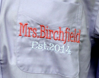 Bride and Bridesmaids Shirt Monogrammed, Assorted Colors