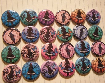 24 Alice in Wonderland Rabbit Altered Art Pinback Button Party Favors Brooches
